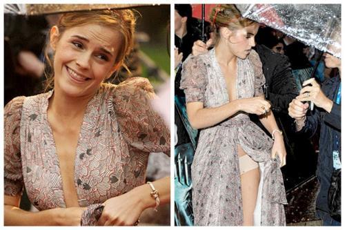 Эмма Уотсон показала нижнее белье на премьере «Гарри Поттер и Принц Полукровка», когда пыталась приподнять платье.