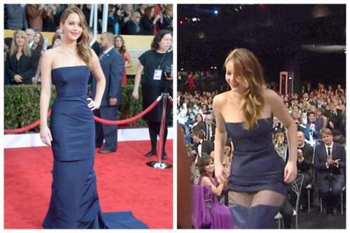 Дженнифер Лоуренс — королева неловких ситуаций на красной дорожке. Актриса порвала платье на премии SAG Awards.