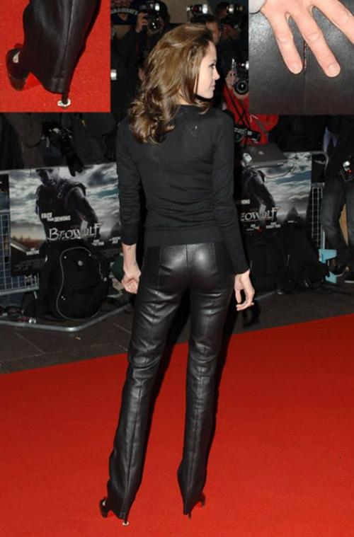 А на премьере «Беовульфа» в Лондоне Анджелина мало того, что наступила на жвачку, так еще и надела слишком узкие кожаные штаны, которые в итоге треснули. Благо, мужская рука Брэда Пита оказалась как нельзя кстати.