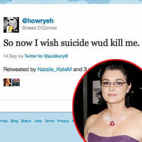 Шинейд ОКоннорИсполнительница устроила публичную истерику на своей страничке Twitter, оставив там сообщение по поводу того, что была бы не прочь покончить с собой.