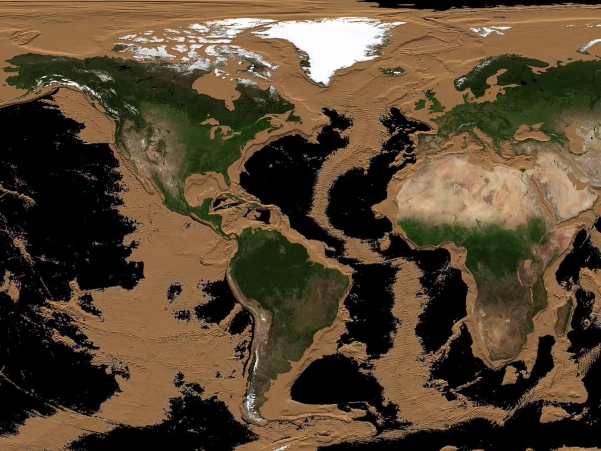 Ученый-планетолог опубликовал анимированную модель Земли, демонстрирующую плавное исчезновение всех морей и океанов планеты.